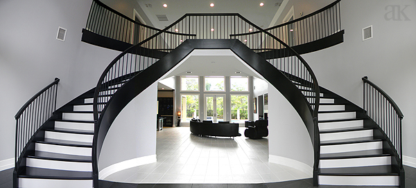 Bruce abernathy curved stair gallery for Double curved staircase